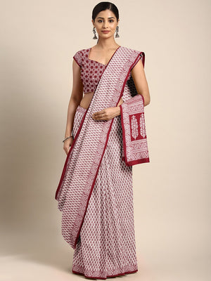 Off-White Maroon Pure Cotton Handblock Print Bagh Saree-Saree-Kalakari India-MRBASA0010-Bagh, Cotton, Geographical Indication, Hand Blocks, Hand Crafted, Heritage Prints, Natural Dyes, Sarees, Sustainable Fabrics-[Linen,Ethnic,wear,Fashionista,Handloom,Handicraft,Indigo,blockprint,block,print,Cotton,Chanderi,Blue, latest,classy,party,bollywood,trendy,summer,style,traditional,formal,elegant,unique,style,hand,block,print, dabu,booti,gift,present,glamorous,affordable,collectible,Sari,Saree,printed,
