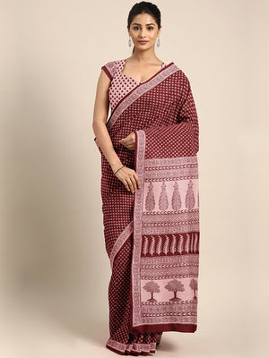 Maroon Pink Pure Cotton Handblock Print Bagh Saree-Saree-Kalakari India-MRBASA0012-Bagh, Cotton, Geographical Indication, Hand Blocks, Hand Crafted, Heritage Prints, Natural Dyes, Sarees, Sustainable Fabrics-[Linen,Ethnic,wear,Fashionista,Handloom,Handicraft,Indigo,blockprint,block,print,Cotton,Chanderi,Blue, latest,classy,party,bollywood,trendy,summer,style,traditional,formal,elegant,unique,style,hand,block,print, dabu,booti,gift,present,glamorous,affordable,collectible,Sari,Saree,printed, holi