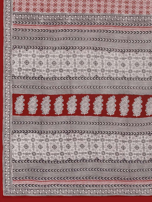 Maroon Off-White Pure Cotton Handblock Print Bagh Saree-Saree-Kalakari India-MRBASA0014-Bagh, Cotton, Geographical Indication, Hand Blocks, Hand Crafted, Heritage Prints, Natural Dyes, Sarees, Sustainable Fabrics-[Linen,Ethnic,wear,Fashionista,Handloom,Handicraft,Indigo,blockprint,block,print,Cotton,Chanderi,Blue, latest,classy,party,bollywood,trendy,summer,style,traditional,formal,elegant,unique,style,hand,block,print, dabu,booti,gift,present,glamorous,affordable,collectible,Sari,Saree,printed,