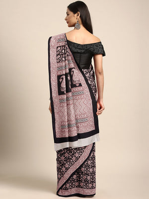 Black Pink Printed Bagh Saree-Saree-Kalakari India-MRBASA0015-Bagh, Cotton, Geographical Indication, Hand Blocks, Hand Crafted, Heritage Prints, Natural Dyes, Sarees, Sustainable Fabrics-[Linen,Ethnic,wear,Fashionista,Handloom,Handicraft,Indigo,blockprint,block,print,Cotton,Chanderi,Blue, latest,classy,party,bollywood,trendy,summer,style,traditional,formal,elegant,unique,style,hand,block,print, dabu,booti,gift,present,glamorous,affordable,collectible,Sari,Saree,printed, holi, Diwali, birthday, a