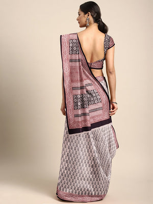 Off-White Black Handblock Print Bagh Saree-Saree-Kalakari India-MRBASA0016-Bagh, Cotton, Geographical Indication, Hand Blocks, Hand Crafted, Heritage Prints, Natural Dyes, Sarees, Sustainable Fabrics-[Linen,Ethnic,wear,Fashionista,Handloom,Handicraft,Indigo,blockprint,block,print,Cotton,Chanderi,Blue, latest,classy,party,bollywood,trendy,summer,style,traditional,formal,elegant,unique,style,hand,block,print, dabu,booti,gift,present,glamorous,affordable,collectible,Sari,Saree,printed, holi, Diwali