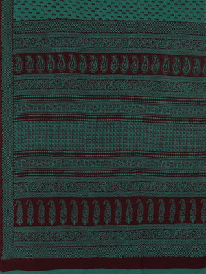 Green Coffee Brown Handblock Print Bagh Saree-Saree-Kalakari India-MRBASA0018-Bagh, Cotton, Geographical Indication, Hand Blocks, Hand Crafted, Heritage Prints, Natural Dyes, Sarees, Sustainable Fabrics-[Linen,Ethnic,wear,Fashionista,Handloom,Handicraft,Indigo,blockprint,block,print,Cotton,Chanderi,Blue, latest,classy,party,bollywood,trendy,summer,style,traditional,formal,elegant,unique,style,hand,block,print, dabu,booti,gift,present,glamorous,affordable,collectible,Sari,Saree,printed, holi, Diw