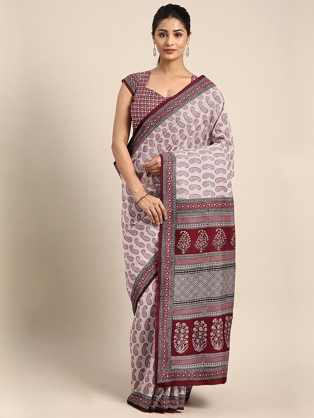 Off-White Maroon Pure Cotton Handblock Print Bagh Saree-Saree-Kalakari India-MRBASA0019-Bagh, Cotton, Geographical Indication, Hand Blocks, Hand Crafted, Heritage Prints, Natural Dyes, Sarees, Sustainable Fabrics-[Linen,Ethnic,wear,Fashionista,Handloom,Handicraft,Indigo,blockprint,block,print,Cotton,Chanderi,Blue, latest,classy,party,bollywood,trendy,summer,style,traditional,formal,elegant,unique,style,hand,block,print, dabu,booti,gift,present,glamorous,affordable,collectible,Sari,Saree,printed,