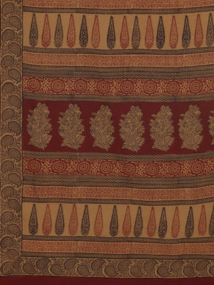 Brown Maroon Pure Cotton Handblock Print Bagh Saree-Saree-Kalakari India-MRBASA0022-Bagh, Cotton, Geographical Indication, Hand Blocks, Hand Crafted, Heritage Prints, Natural Dyes, Sarees, Sustainable Fabrics-[Linen,Ethnic,wear,Fashionista,Handloom,Handicraft,Indigo,blockprint,block,print,Cotton,Chanderi,Blue, latest,classy,party,bollywood,trendy,summer,style,traditional,formal,elegant,unique,style,hand,block,print, dabu,booti,gift,present,glamorous,affordable,collectible,Sari,Saree,printed, hol