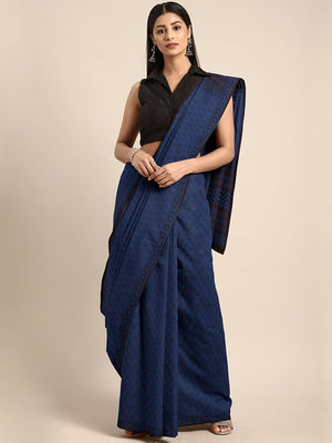Navy Blue Coffee Brown Handblock Print Bagh Saree-Saree-Kalakari India-MRBASA0023-Bagh, Cotton, Geographical Indication, Hand Blocks, Hand Crafted, Heritage Prints, Natural Dyes, Sarees, Sustainable Fabrics-[Linen,Ethnic,wear,Fashionista,Handloom,Handicraft,Indigo,blockprint,block,print,Cotton,Chanderi,Blue, latest,classy,party,bollywood,trendy,summer,style,traditional,formal,elegant,unique,style,hand,block,print, dabu,booti,gift,present,glamorous,affordable,collectible,Sari,Saree,printed, holi,