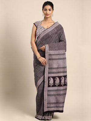Black Off-White Handblock Print Bagh Saree-Saree-Kalakari India-MRBASA0025-Bagh, Cotton, Geographical Indication, Hand Blocks, Hand Crafted, Heritage Prints, Natural Dyes, Sarees, Sustainable Fabrics-[Linen,Ethnic,wear,Fashionista,Handloom,Handicraft,Indigo,blockprint,block,print,Cotton,Chanderi,Blue, latest,classy,party,bollywood,trendy,summer,style,traditional,formal,elegant,unique,style,hand,block,print, dabu,booti,gift,present,glamorous,affordable,collectible,Sari,Saree,printed, holi, Diwali