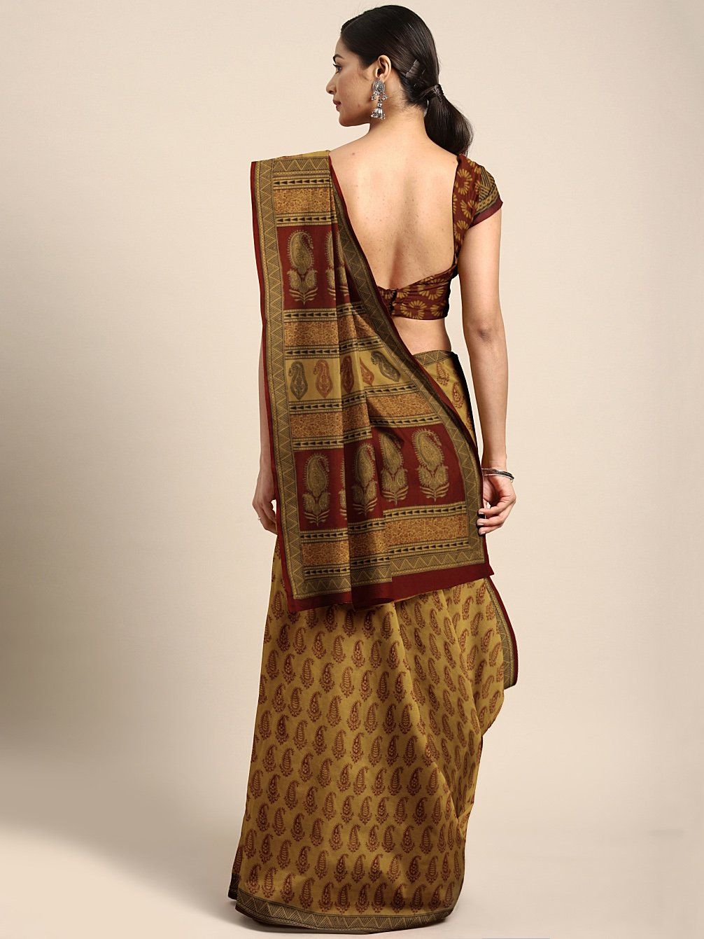 Mustard Maroon Handblock Print Bagh Saree-Saree-Kalakari India-MRBASA0026-Bagh, Cotton, Geographical Indication, Hand Blocks, Hand Crafted, Heritage Prints, Natural Dyes, Sarees, Sustainable Fabrics-[Linen,Ethnic,wear,Fashionista,Handloom,Handicraft,Indigo,blockprint,block,print,Cotton,Chanderi,Blue, latest,classy,party,bollywood,trendy,summer,style,traditional,formal,elegant,unique,style,hand,block,print, dabu,booti,gift,present,glamorous,affordable,collectible,Sari,Saree,printed, holi, Diwali,