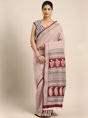 Pink Maroon Handblock Print Saree-Saree-Kalakari India-MYBASA0004-Bagh, Cotton, Geographical Indication, Hand Blocks, Hand Crafted, Heritage Prints, Natural Dyes, Sarees, Sustainable Fabrics-[Linen,Ethnic,wear,Fashionista,Handloom,Handicraft,Indigo,blockprint,block,print,Cotton,Chanderi,Blue, latest,classy,party,bollywood,trendy,summer,style,traditional,formal,elegant,unique,style,hand,block,print, dabu,booti,gift,present,glamorous,affordable,collectible,Sari,Saree,printed, holi, Diwali, birthda