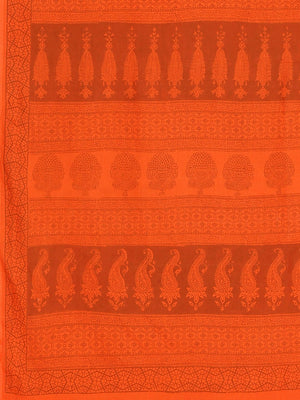 Orange Printed Bagh Handblock Print Saree-Saree-Kalakari India-MYBASA0006-Bagh, Cotton, Geographical Indication, Hand Blocks, Hand Crafted, Heritage Prints, Natural Dyes, Sarees, Sustainable Fabrics-[Linen,Ethnic,wear,Fashionista,Handloom,Handicraft,Indigo,blockprint,block,print,Cotton,Chanderi,Blue, latest,classy,party,bollywood,trendy,summer,style,traditional,formal,elegant,unique,style,hand,block,print, dabu,booti,gift,present,glamorous,affordable,collectible,Sari,Saree,printed, holi, Diwali,