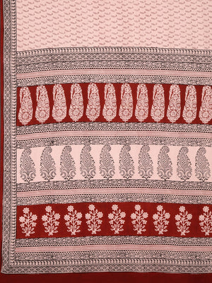 Pink Maroon Handblock Print Saree-Saree-Kalakari India-MYBASA0007-Bagh, Cotton, Geographical Indication, Hand Blocks, Hand Crafted, Heritage Prints, Natural Dyes, Sarees, Sustainable Fabrics-[Linen,Ethnic,wear,Fashionista,Handloom,Handicraft,Indigo,blockprint,block,print,Cotton,Chanderi,Blue, latest,classy,party,bollywood,trendy,summer,style,traditional,formal,elegant,unique,style,hand,block,print, dabu,booti,gift,present,glamorous,affordable,collectible,Sari,Saree,printed, holi, Diwali, birthda