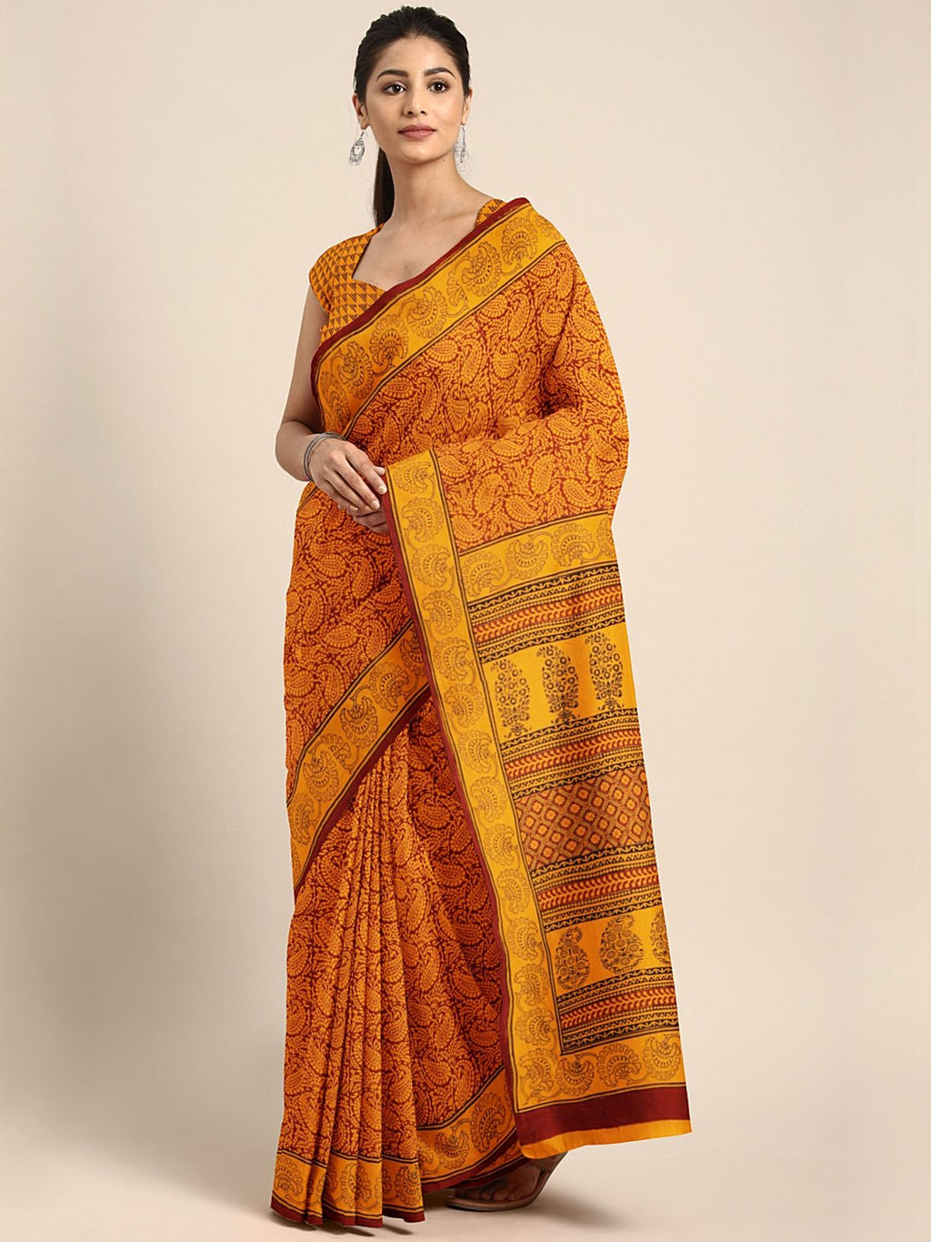 Mustard Yellow Maroon Handblock Print Saree-Saree-Kalakari India-MYBASA0012-Bagh, Cotton, Geographical Indication, Hand Blocks, Hand Crafted, Heritage Prints, Natural Dyes, Sarees, Sustainable Fabrics-[Linen,Ethnic,wear,Fashionista,Handloom,Handicraft,Indigo,blockprint,block,print,Cotton,Chanderi,Blue, latest,classy,party,bollywood,trendy,summer,style,traditional,formal,elegant,unique,style,hand,block,print, dabu,booti,gift,present,glamorous,affordable,collectible,Sari,Saree,printed, holi, Diwal