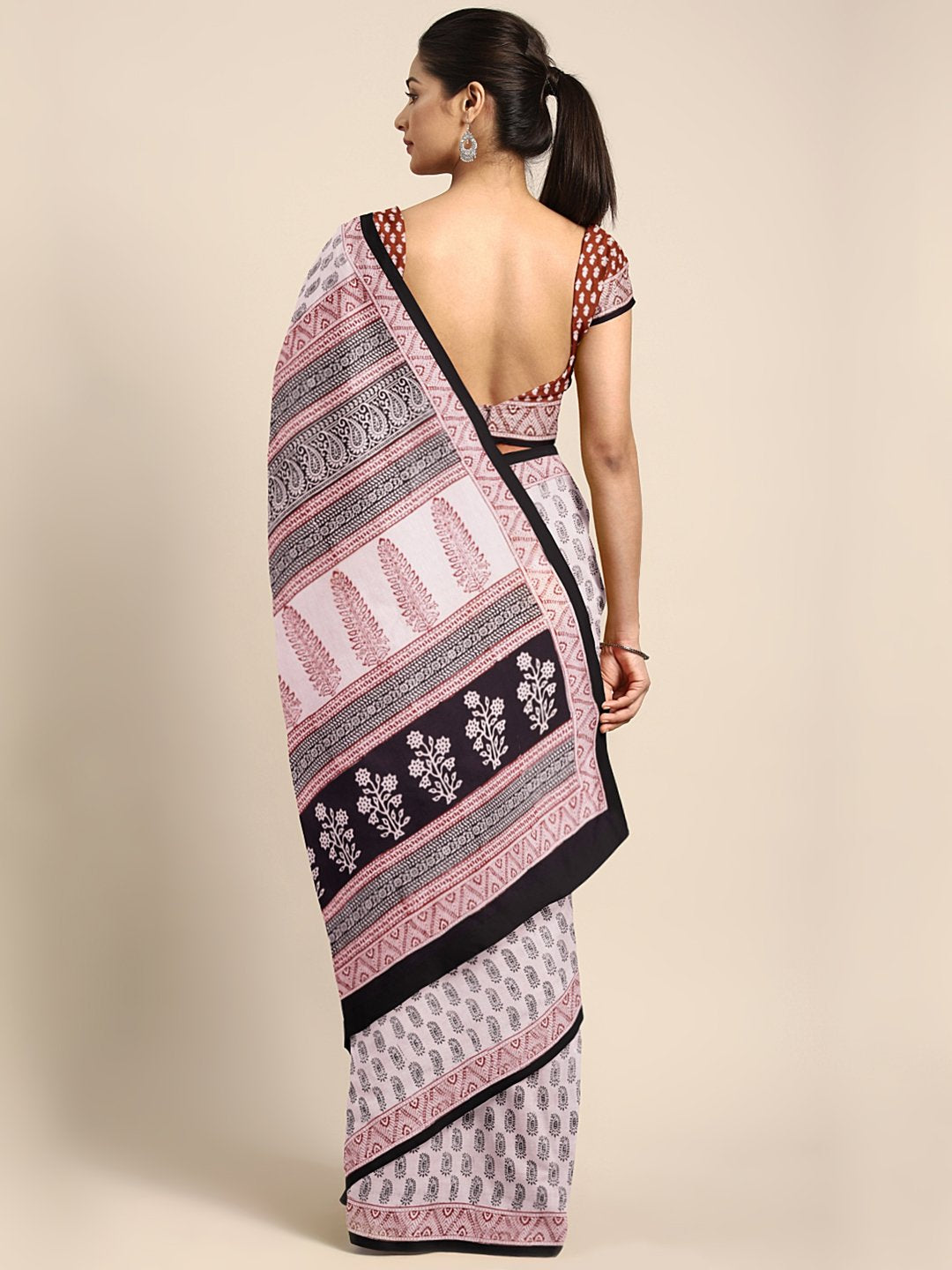 Off-White Black Handblock Print Saree-Saree-Kalakari India-MYBASA0013-Bagh, Cotton, Geographical Indication, Hand Blocks, Hand Crafted, Heritage Prints, Natural Dyes, Sarees, Sustainable Fabrics-[Linen,Ethnic,wear,Fashionista,Handloom,Handicraft,Indigo,blockprint,block,print,Cotton,Chanderi,Blue, latest,classy,party,bollywood,trendy,summer,style,traditional,formal,elegant,unique,style,hand,block,print, dabu,booti,gift,present,glamorous,affordable,collectible,Sari,Saree,printed, holi, Diwali, bir