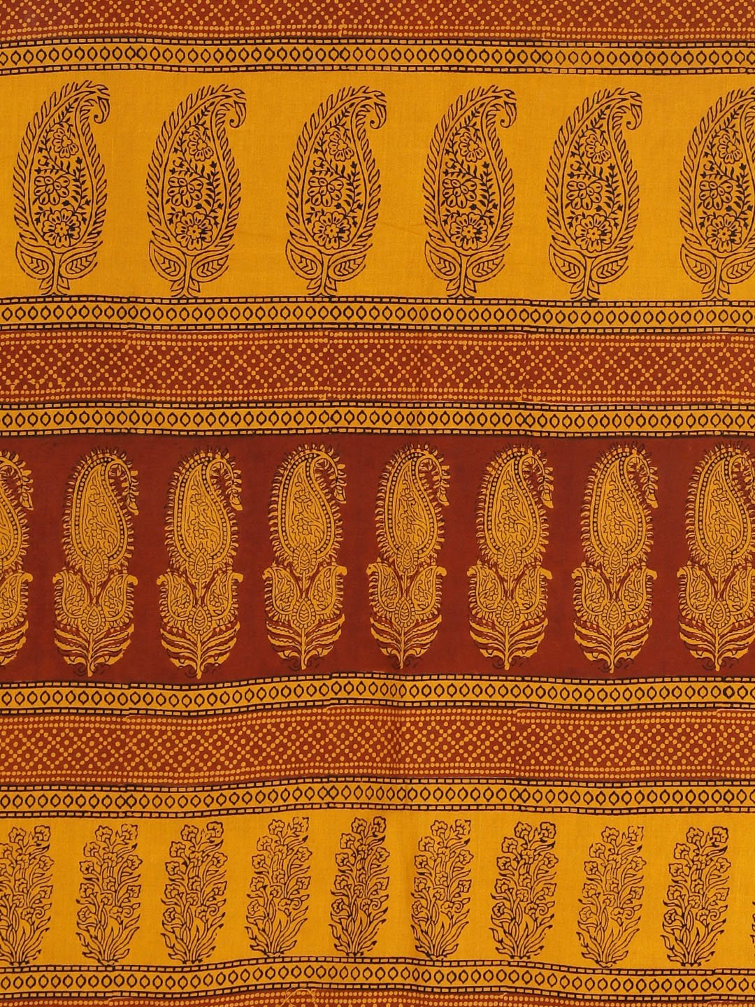 Mustard Yellow Maroon Handblock Print Saree-Saree-Kalakari India-MYBASA0014-Bagh, Cotton, Geographical Indication, Hand Blocks, Hand Crafted, Heritage Prints, Natural Dyes, Sarees, Sustainable Fabrics-[Linen,Ethnic,wear,Fashionista,Handloom,Handicraft,Indigo,blockprint,block,print,Cotton,Chanderi,Blue, latest,classy,party,bollywood,trendy,summer,style,traditional,formal,elegant,unique,style,hand,block,print, dabu,booti,gift,present,glamorous,affordable,collectible,Sari,Saree,printed, holi, Diwal