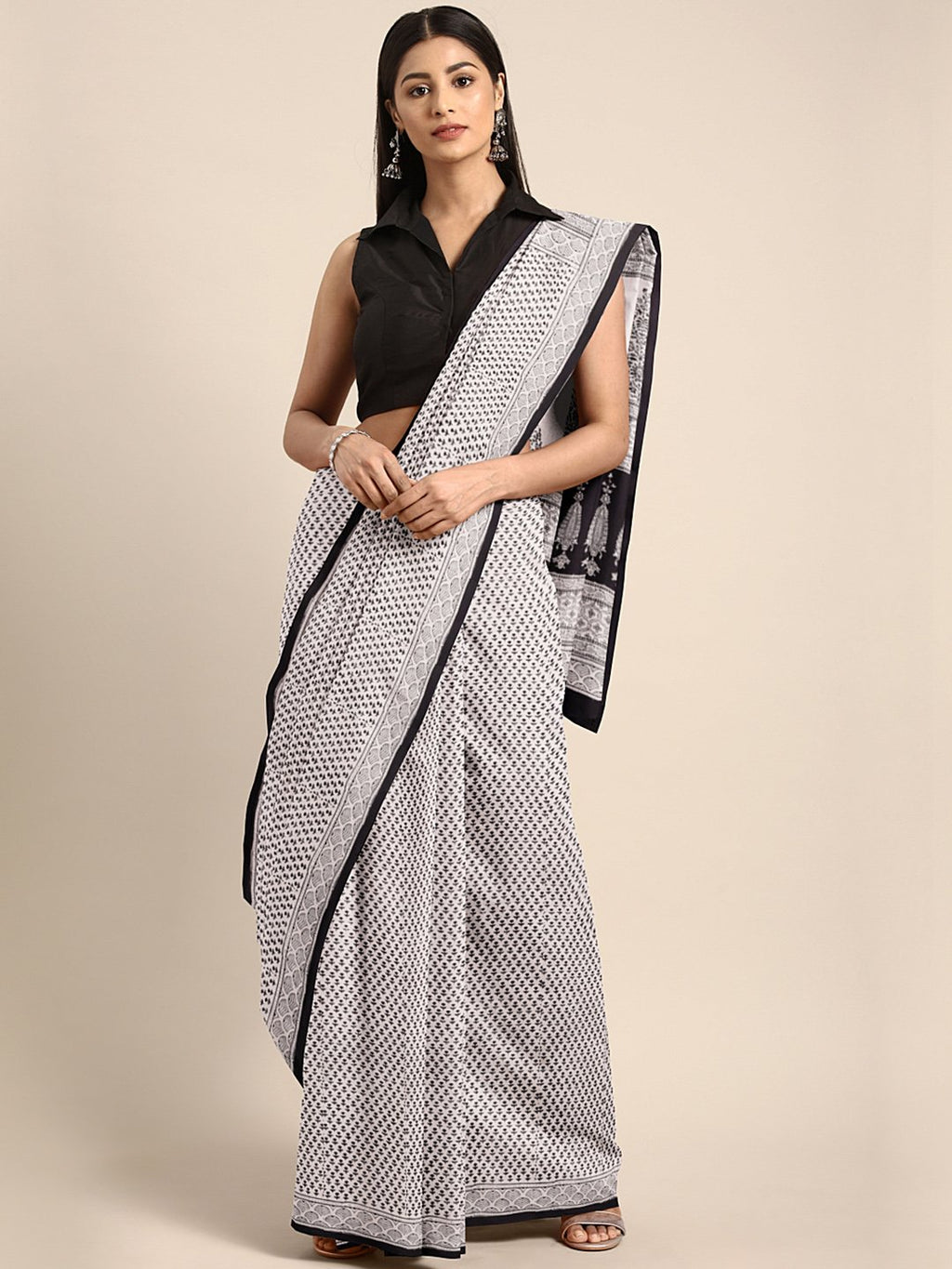 Off-White Black Hanblock Print Saree-Saree-Kalakari India-MYBASA0015-Bagh, Cotton, Geographical Indication, Hand Blocks, Hand Crafted, Heritage Prints, Natural Dyes, Sarees, Sustainable Fabrics-[Linen,Ethnic,wear,Fashionista,Handloom,Handicraft,Indigo,blockprint,block,print,Cotton,Chanderi,Blue, latest,classy,party,bollywood,trendy,summer,style,traditional,formal,elegant,unique,style,hand,block,print, dabu,booti,gift,present,glamorous,affordable,collectible,Sari,Saree,printed, holi, Diwali, birt