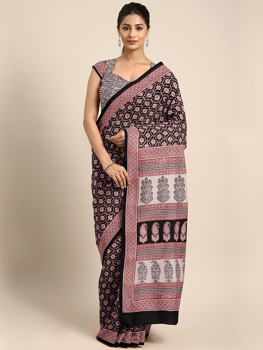 Black Maroon Handblock Print Saree-Saree-Kalakari India-MYBASA0016-Bagh, Cotton, Geographical Indication, Hand Blocks, Hand Crafted, Heritage Prints, Natural Dyes, Sarees, Sustainable Fabrics-[Linen,Ethnic,wear,Fashionista,Handloom,Handicraft,Indigo,blockprint,block,print,Cotton,Chanderi,Blue, latest,classy,party,bollywood,trendy,summer,style,traditional,formal,elegant,unique,style,hand,block,print, dabu,booti,gift,present,glamorous,affordable,collectible,Sari,Saree,printed, holi, Diwali, birthd
