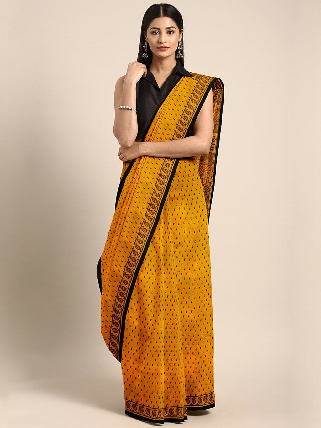 Mustard Yellow Black Bagh Handblock Print Saree-Saree-Kalakari India-MYBASA0017-Bagh, Cotton, Geographical Indication, Hand Blocks, Hand Crafted, Heritage Prints, Natural Dyes, Sarees, Sustainable Fabrics-[Linen,Ethnic,wear,Fashionista,Handloom,Handicraft,Indigo,blockprint,block,print,Cotton,Chanderi,Blue, latest,classy,party,bollywood,trendy,summer,style,traditional,formal,elegant,unique,style,hand,block,print, dabu,booti,gift,present,glamorous,affordable,collectible,Sari,Saree,printed, holi, D
