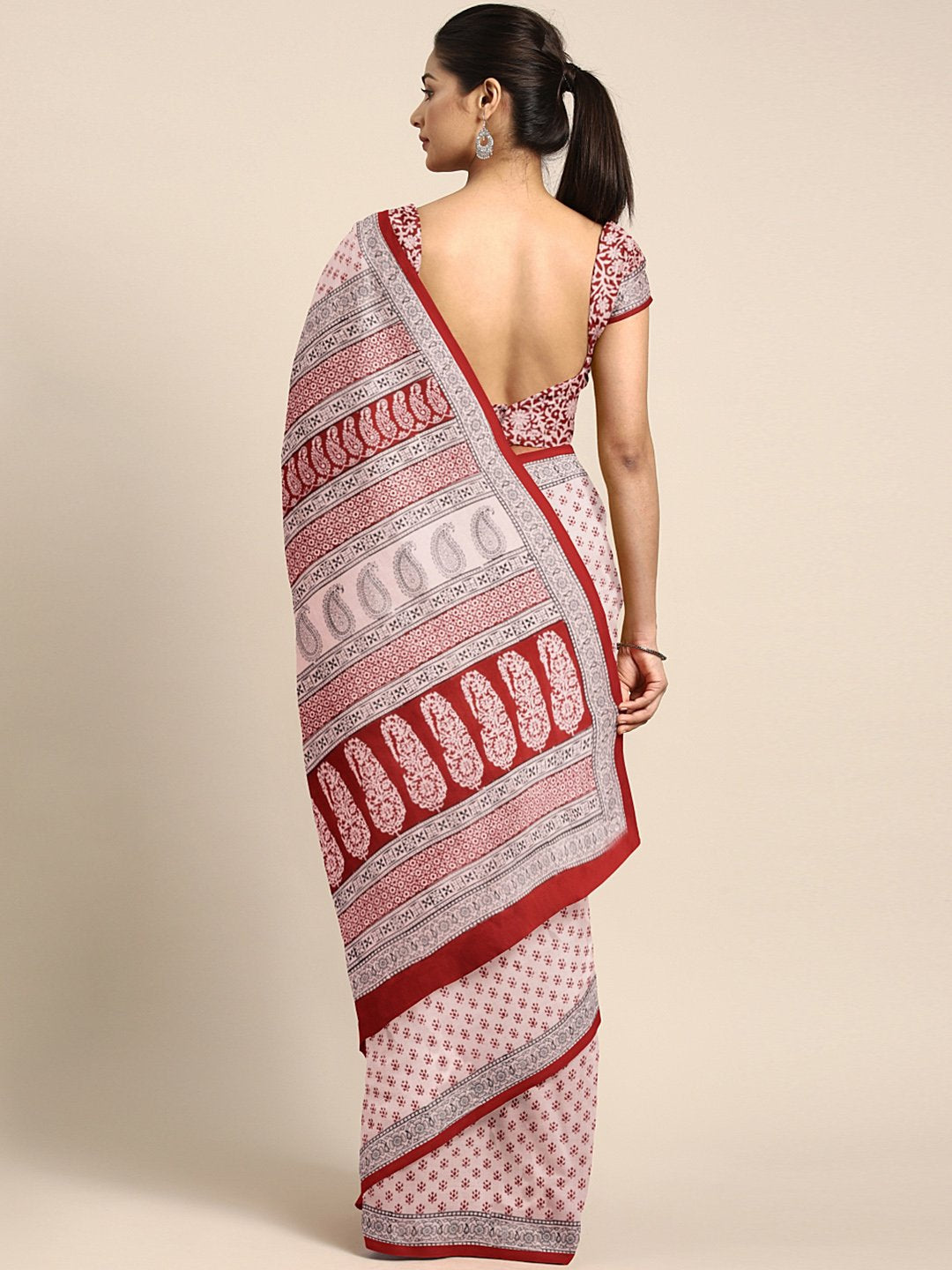 Pink Maroon Handblock Print Saree-Saree-Kalakari India-MYBASA0018-Bagh, Cotton, Geographical Indication, Hand Blocks, Hand Crafted, Heritage Prints, Natural Dyes, Sarees, Sustainable Fabrics-[Linen,Ethnic,wear,Fashionista,Handloom,Handicraft,Indigo,blockprint,block,print,Cotton,Chanderi,Blue, latest,classy,party,bollywood,trendy,summer,style,traditional,formal,elegant,unique,style,hand,block,print, dabu,booti,gift,present,glamorous,affordable,collectible,Sari,Saree,printed, holi, Diwali, birthda