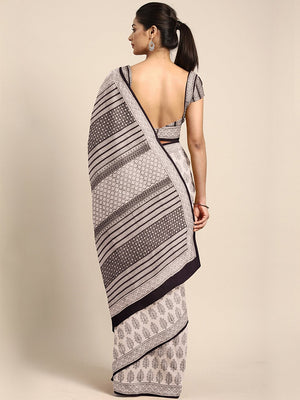 Off-White Brown Bagh Handblock Print Saree-Saree-Kalakari India-MYBASA0019-Bagh, Cotton, Geographical Indication, Hand Blocks, Hand Crafted, Heritage Prints, Natural Dyes, Sarees, Sustainable Fabrics-[Linen,Ethnic,wear,Fashionista,Handloom,Handicraft,Indigo,blockprint,block,print,Cotton,Chanderi,Blue, latest,classy,party,bollywood,trendy,summer,style,traditional,formal,elegant,unique,style,hand,block,print, dabu,booti,gift,present,glamorous,affordable,collectible,Sari,Saree,printed, holi, Diwali