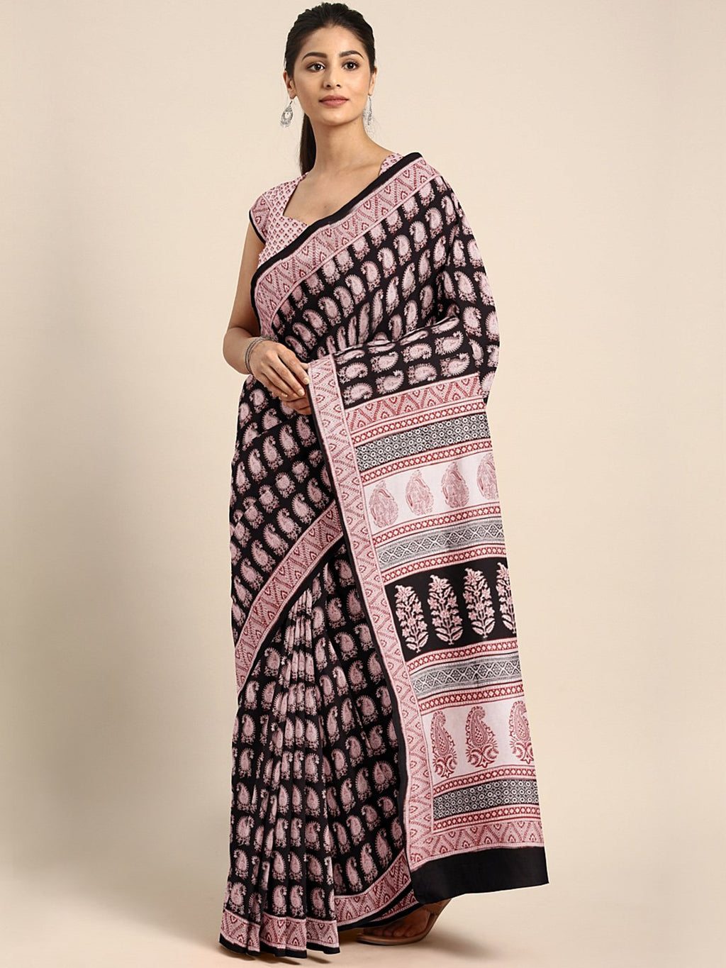 Black Beige Pure Cotton Printed Saree-Saree-Kalakari India-MYBASA0020-Bagh, Cotton, Geographical Indication, Hand Blocks, Hand Crafted, Heritage Prints, Natural Dyes, Sarees, Sustainable Fabrics-[Linen,Ethnic,wear,Fashionista,Handloom,Handicraft,Indigo,blockprint,block,print,Cotton,Chanderi,Blue, latest,classy,party,bollywood,trendy,summer,style,traditional,formal,elegant,unique,style,hand,block,print, dabu,booti,gift,present,glamorous,affordable,collectible,Sari,Saree,printed, holi, Diwali, bir