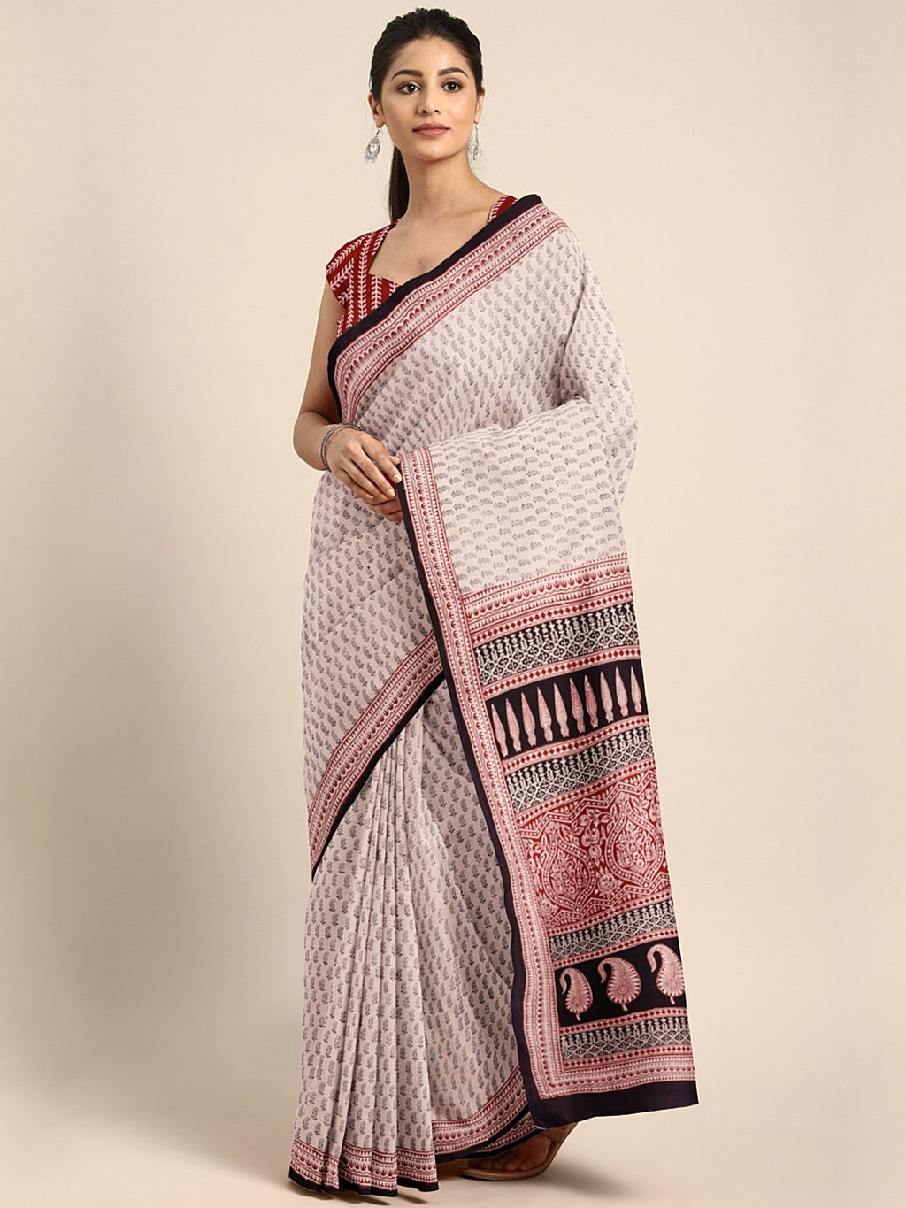 Off-White Maroon Handblock Print Saree-Saree-Kalakari India-MYBASA0021-Bagh, Cotton, Geographical Indication, Hand Blocks, Hand Crafted, Heritage Prints, Natural Dyes, Sarees, Sustainable Fabrics-[Linen,Ethnic,wear,Fashionista,Handloom,Handicraft,Indigo,blockprint,block,print,Cotton,Chanderi,Blue, latest,classy,party,bollywood,trendy,summer,style,traditional,formal,elegant,unique,style,hand,block,print, dabu,booti,gift,present,glamorous,affordable,collectible,Sari,Saree,printed, holi, Diwali, bi