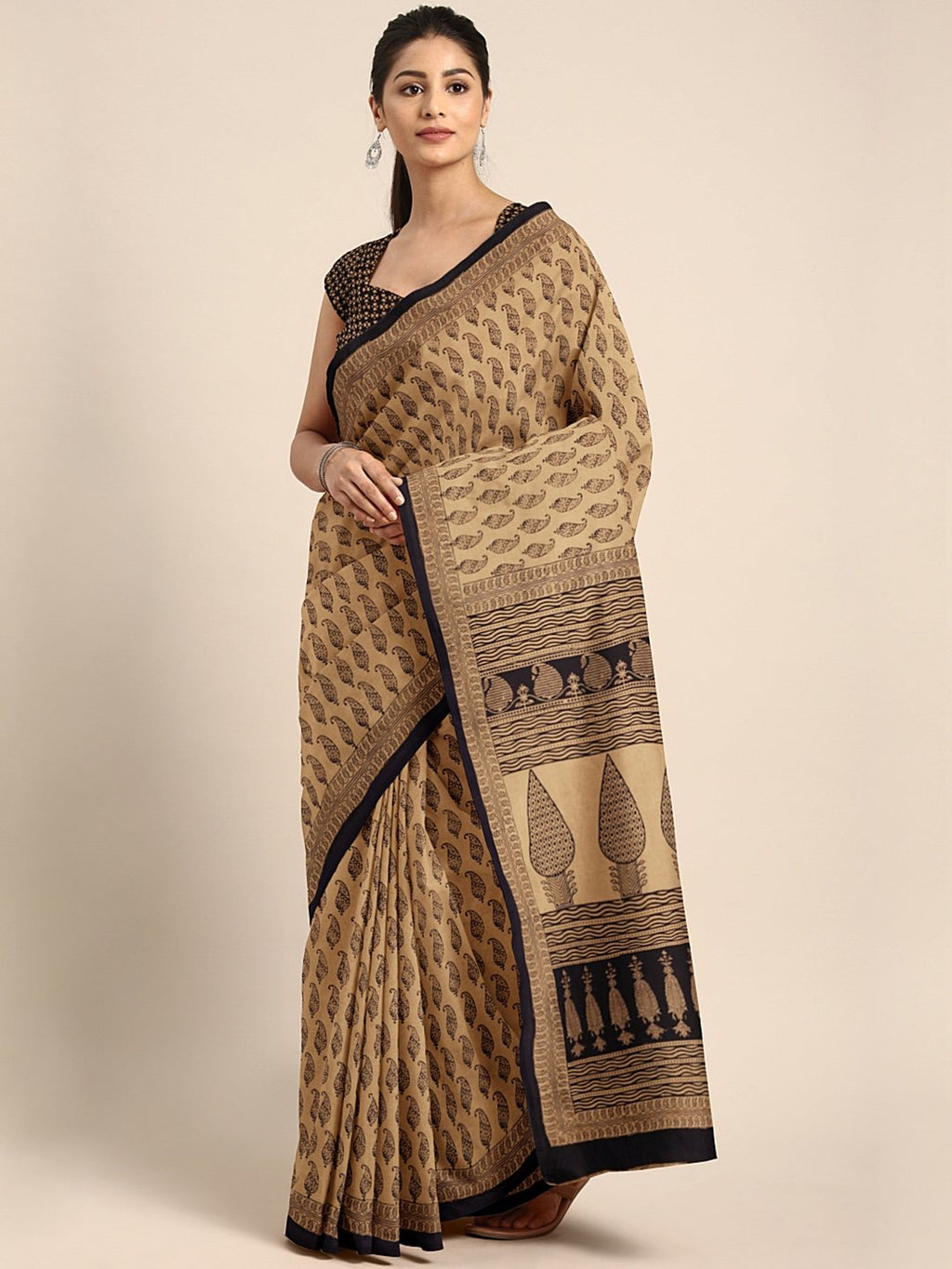 Brown Black Handblock Print Saree-Saree-Kalakari India-MYBASA0023-Bagh, Cotton, Geographical Indication, Hand Blocks, Hand Crafted, Heritage Prints, Natural Dyes, Sarees, Sustainable Fabrics-[Linen,Ethnic,wear,Fashionista,Handloom,Handicraft,Indigo,blockprint,block,print,Cotton,Chanderi,Blue, latest,classy,party,bollywood,trendy,summer,style,traditional,formal,elegant,unique,style,hand,block,print, dabu,booti,gift,present,glamorous,affordable,collectible,Sari,Saree,printed, holi, Diwali, birthda