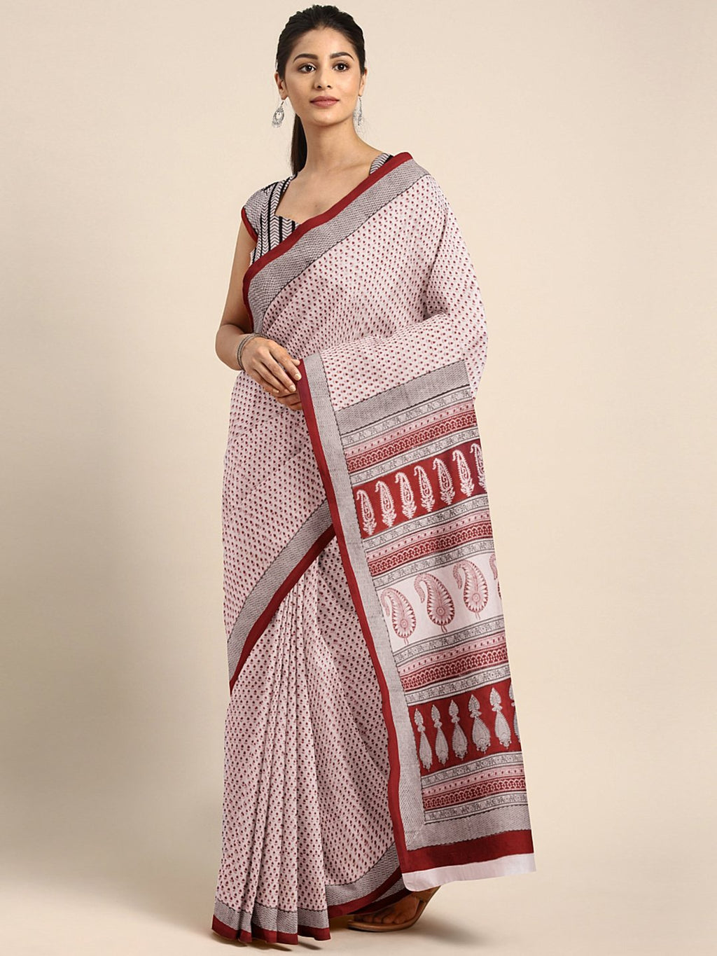 Peach-Coloured Maroon Pure Cotton Printed Saree-Saree-Kalakari India-MYBASA0024-Bagh, Cotton, Geographical Indication, Hand Blocks, Hand Crafted, Heritage Prints, Natural Dyes, Sarees, Sustainable Fabrics-[Linen,Ethnic,wear,Fashionista,Handloom,Handicraft,Indigo,blockprint,block,print,Cotton,Chanderi,Blue, latest,classy,party,bollywood,trendy,summer,style,traditional,formal,elegant,unique,style,hand,block,print, dabu,booti,gift,present,glamorous,affordable,collectible,Sari,Saree,printed, holi, D