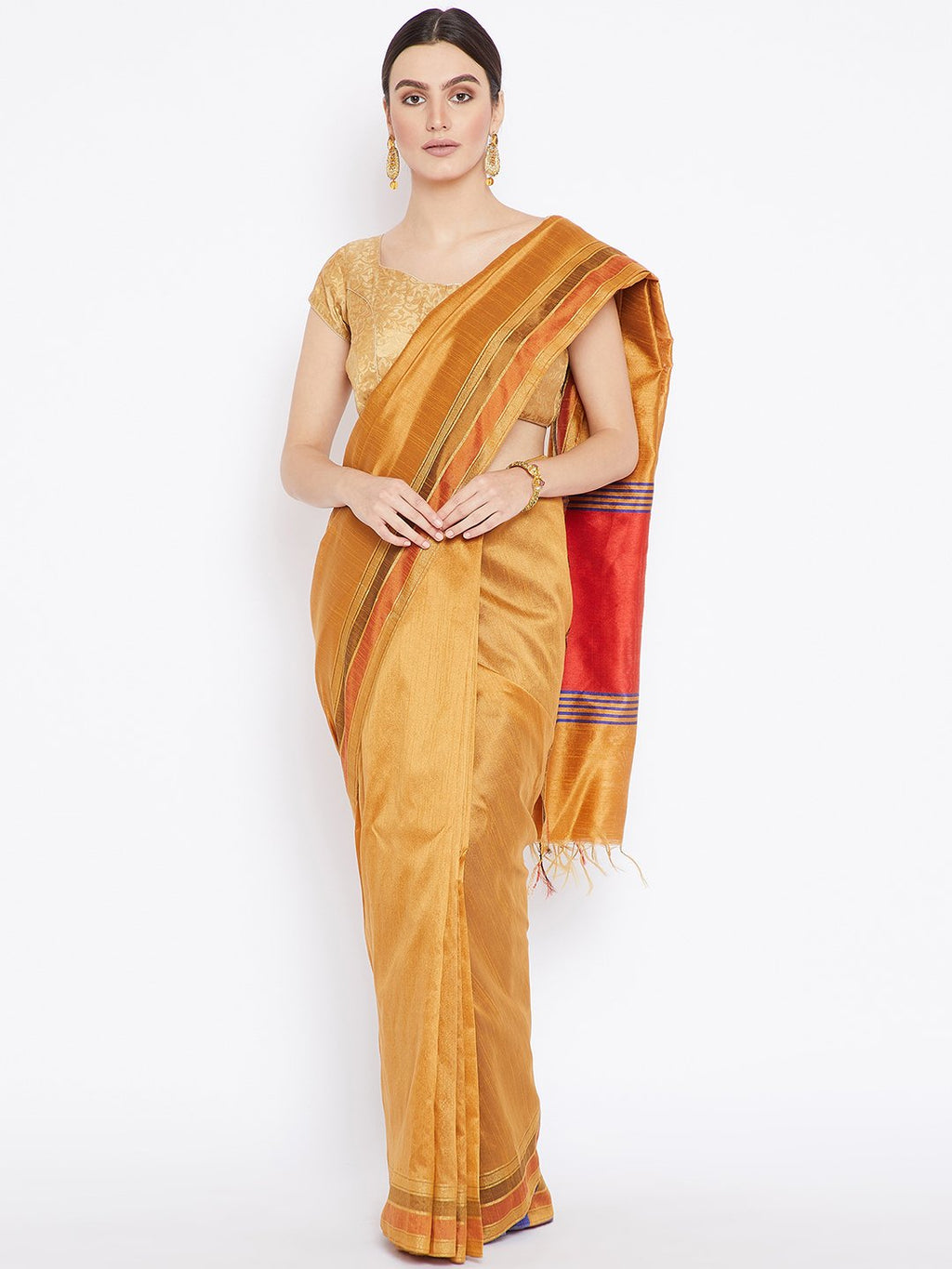 Gold-Coloured Tussar Woven Design Handloom Saree-Saree-Kalakari India-PRTUSA0001-Ahimsa Silk, Chattisgarh Kosa, Cruelty Free, Geographical Indication, Hand Woven, Sarees, Silk, Sustainable Fabrics, Traditional Weave, Tussar-[Linen,Ethnic,wear,Fashionista,Handloom,Handicraft,Indigo,blockprint,block,print,Cotton,Chanderi,Blue, latest,classy,party,bollywood,trendy,summer,style,traditional,formal,elegant,unique,style,hand,block,print, dabu,booti,gift,present,glamorous,affordable,collectible,Sari,Sar