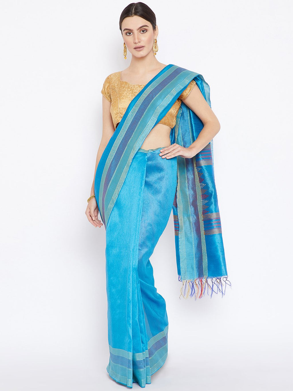 Blue Tussar Woven Design Handloom Saree-Saree-Kalakari India-PRTUSA0002-Ahimsa Silk, Chattisgarh Kosa, Cruelty Free, Geographical Indication, Hand Woven, Sarees, Silk, Sustainable Fabrics, Traditional Weave, Tussar-[Linen,Ethnic,wear,Fashionista,Handloom,Handicraft,Indigo,blockprint,block,print,Cotton,Chanderi,Blue, latest,classy,party,bollywood,trendy,summer,style,traditional,formal,elegant,unique,style,hand,block,print, dabu,booti,gift,present,glamorous,affordable,collectible,Sari,Saree,printe