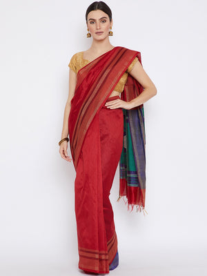 Red and Blue Tussar Woven Design Handloom Saree-Saree-Kalakari India-PRTUSA0003-Ahimsa Silk, Chattisgarh Kosa, Cruelty Free, Geographical Indication, Hand Woven, Sarees, Silk, Sustainable Fabrics, Traditional Weave, Tussar-[Linen,Ethnic,wear,Fashionista,Handloom,Handicraft,Indigo,blockprint,block,print,Cotton,Chanderi,Blue, latest,classy,party,bollywood,trendy,summer,style,traditional,formal,elegant,unique,style,hand,block,print, dabu,booti,gift,present,glamorous,affordable,collectible,Sari,Sare