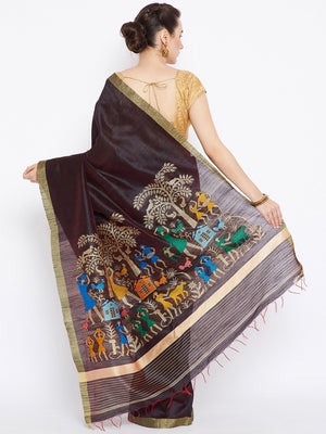 Coffee Brown and Gold-coloured Tussar Woven Design Handloom Saree-Saree-Kalakari India-PRTUSA0006-Ahimsa Silk, Chattisgarh Kosa, Cruelty Free, Geographical Indication, Hand Woven, Sarees, Silk, Sustainable Fabrics, Traditional Weave, Tussar-[Linen,Ethnic,wear,Fashionista,Handloom,Handicraft,Indigo,blockprint,block,print,Cotton,Chanderi,Blue, latest,classy,party,bollywood,trendy,summer,style,traditional,formal,elegant,unique,style,hand,block,print, dabu,booti,gift,present,glamorous,affordable,col