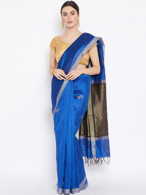 Blue and Grey Tussar Woven Design Handloom Saree-Saree-Kalakari India-PRTUSA0007-Ahimsa Silk, Chattisgarh Kosa, Cruelty Free, Geographical Indication, Hand Woven, Sarees, Silk, Sustainable Fabrics, Traditional Weave, Tussar-[Linen,Ethnic,wear,Fashionista,Handloom,Handicraft,Indigo,blockprint,block,print,Cotton,Chanderi,Blue, latest,classy,party,bollywood,trendy,summer,style,traditional,formal,elegant,unique,style,hand,block,print, dabu,booti,gift,present,glamorous,affordable,collectible,Sari,Sar