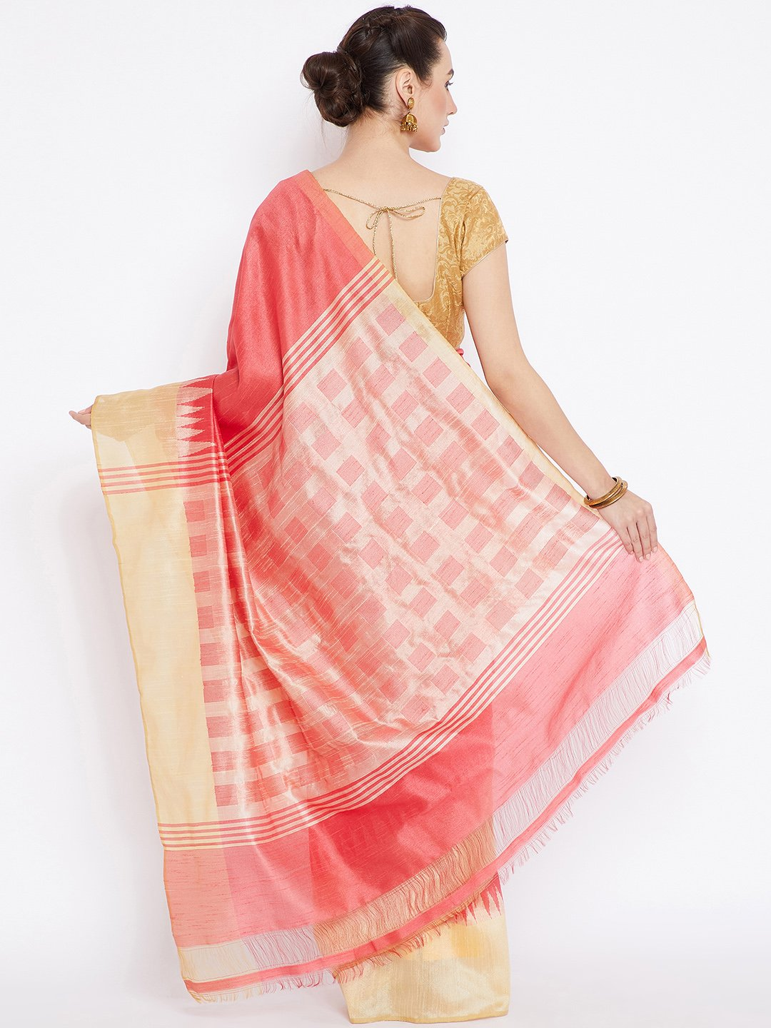 Peach and Gold-Coloured Tussar Woven Design Handloom Saree-Saree-Kalakari India-PRTUSA0008-Ahimsa Silk, Chattisgarh Kosa, Cruelty Free, Geographical Indication, Hand Woven, Sarees, Silk, Sustainable Fabrics, Traditional Weave, Tussar-[Linen,Ethnic,wear,Fashionista,Handloom,Handicraft,Indigo,blockprint,block,print,Cotton,Chanderi,Blue, latest,classy,party,bollywood,trendy,summer,style,traditional,formal,elegant,unique,style,hand,block,print, dabu,booti,gift,present,glamorous,affordable,collectibl