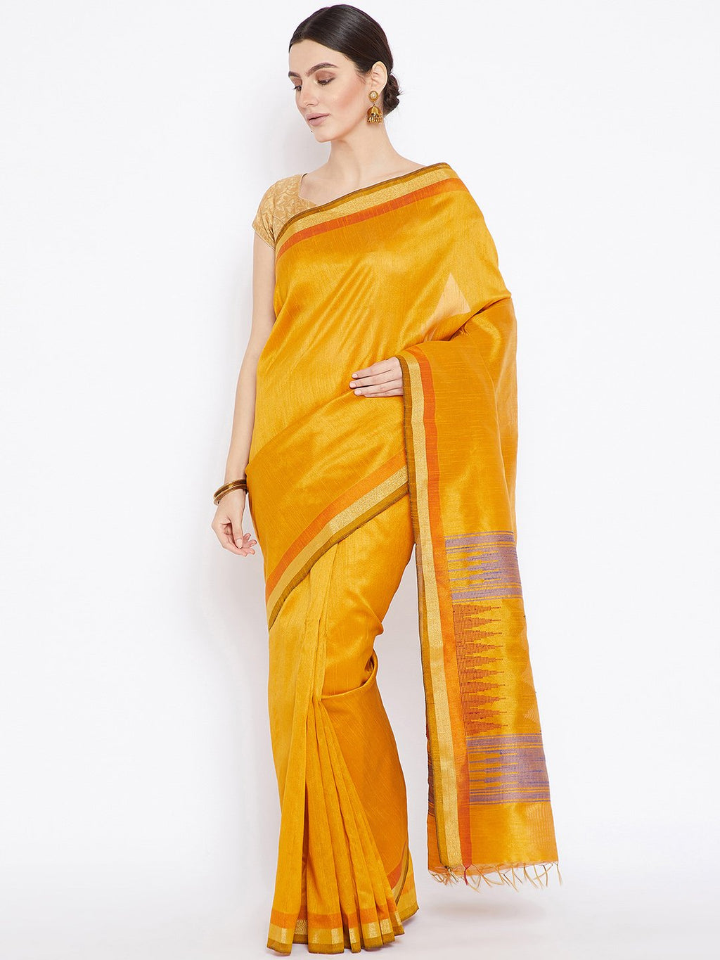 Gold-Coloured Tussar Woven Design Handloom Saree-Saree-Kalakari India-PRTUSA0009-Ahimsa Silk, Chattisgarh Kosa, Cruelty Free, Geographical Indication, Hand Woven, Sarees, Silk, Sustainable Fabrics, Traditional Weave, Tussar-[Linen,Ethnic,wear,Fashionista,Handloom,Handicraft,Indigo,blockprint,block,print,Cotton,Chanderi,Blue, latest,classy,party,bollywood,trendy,summer,style,traditional,formal,elegant,unique,style,hand,block,print, dabu,booti,gift,present,glamorous,affordable,collectible,Sari,Sar