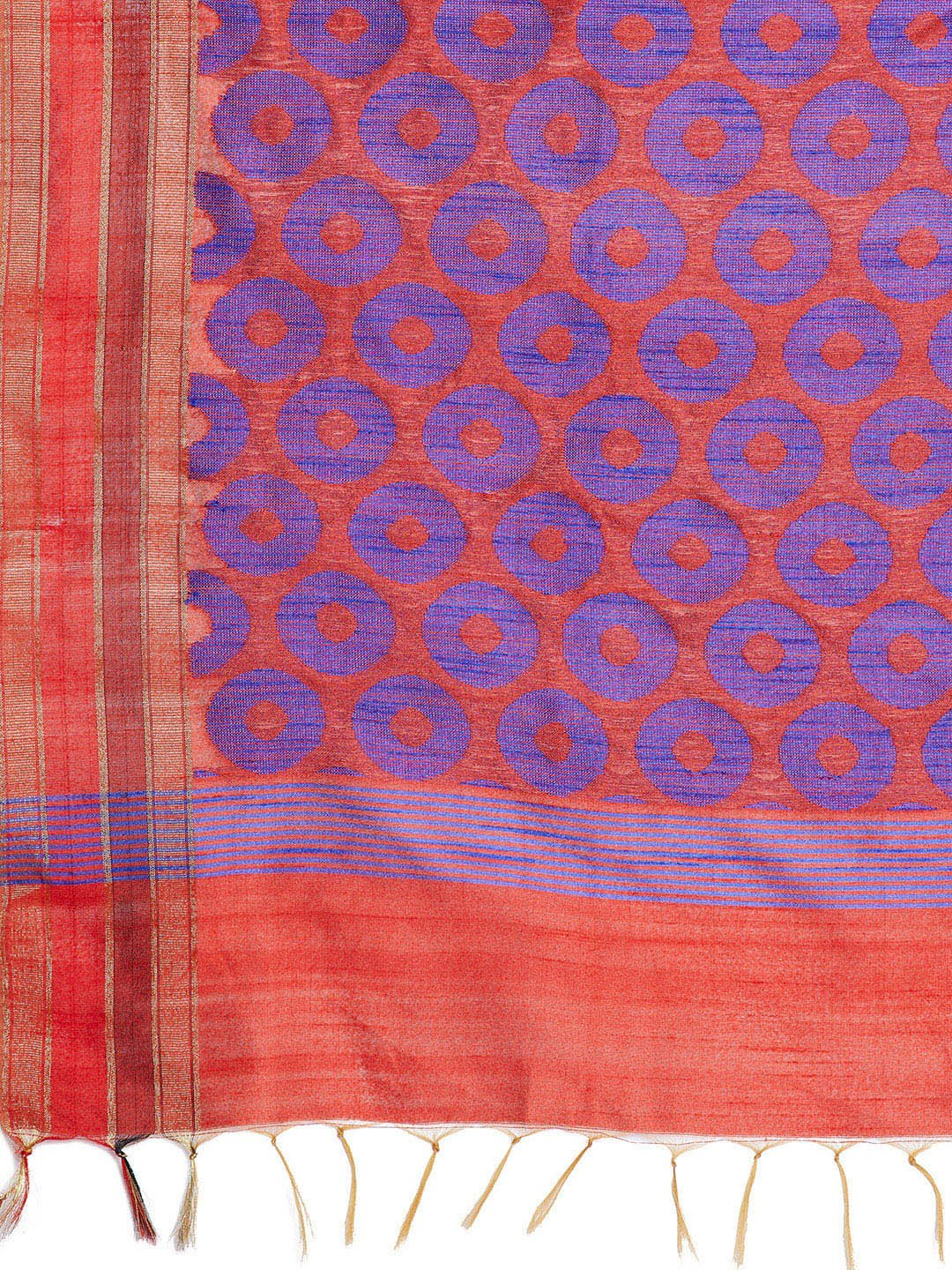 Red and Blue Tussar Woven Design Handloom Saree-Saree-Kalakari India-PRTUSA0010-Ahimsa Silk, Chattisgarh Kosa, Cruelty Free, Geographical Indication, Hand Woven, Sarees, Silk, Sustainable Fabrics, Traditional Weave, Tussar-[Linen,Ethnic,wear,Fashionista,Handloom,Handicraft,Indigo,blockprint,block,print,Cotton,Chanderi,Blue, latest,classy,party,bollywood,trendy,summer,style,traditional,formal,elegant,unique,style,hand,block,print, dabu,booti,gift,present,glamorous,affordable,collectible,Sari,Sare