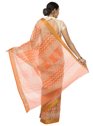 Peach-Coloured Sanganeri Block Print Cotton & Supernet Ttraditional Handcrafted Saree-Saree-Kalakari India-RDSNSA0003-Geographical Indication, Hand Blocks, Hand Crafted, Heritage Prints, Kota Doria, Sanganeri, Sarees, Sustainable Fabrics-[Linen,Ethnic,wear,Fashionista,Handloom,Handicraft,Indigo,blockprint,block,print,Cotton,Chanderi,Blue, latest,classy,party,bollywood,trendy,summer,style,traditional,formal,elegant,unique,style,hand,block,print, dabu,booti,gift,present,glamorous,affordable,collec