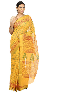 Yellow Sanganeri Hand Block Print Cotton Kota Doria Supernet Handcrafted Saree-Saree-Kalakari India-RDSNSA0010-Geographical Indication, Hand Blocks, Hand Crafted, Heritage Prints, Kota Doria, Sanganeri, Sarees, Sustainable Fabrics-[Linen,Ethnic,wear,Fashionista,Handloom,Handicraft,Indigo,blockprint,block,print,Cotton,Chanderi,Blue, latest,classy,party,bollywood,trendy,summer,style,traditional,formal,elegant,unique,style,hand,block,print, dabu,booti,gift,present,glamorous,affordable,collectible,S