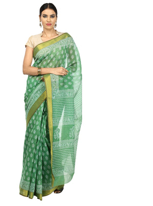 Green Sanganeri Hand Block Print Cotton Kota Doria Supernet Handcrafted Saree-Saree-Kalakari India-RDSNSA0011-Geographical Indication, Hand Blocks, Hand Crafted, Heritage Prints, Kota Doria, Sanganeri, Sarees, Sustainable Fabrics-[Linen,Ethnic,wear,Fashionista,Handloom,Handicraft,Indigo,blockprint,block,print,Cotton,Chanderi,Blue, latest,classy,party,bollywood,trendy,summer,style,traditional,formal,elegant,unique,style,hand,block,print, dabu,booti,gift,present,glamorous,affordable,collectible,Sa