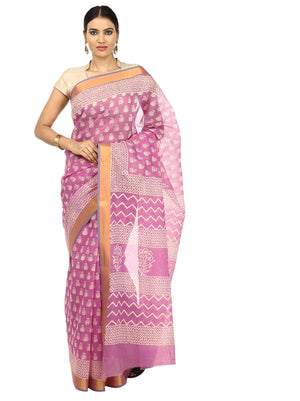 Pink Sanganeri Hand Block Print Cotton Kota Doria Supernet Handcrafted Saree-Saree-Kalakari India-RDSNSA0012-Geographical Indication, Hand Blocks, Hand Crafted, Heritage Prints, Kota Doria, Sanganeri, Sarees, Sustainable Fabrics-[Linen,Ethnic,wear,Fashionista,Handloom,Handicraft,Indigo,blockprint,block,print,Cotton,Chanderi,Blue, latest,classy,party,bollywood,trendy,summer,style,traditional,formal,elegant,unique,style,hand,block,print, dabu,booti,gift,present,glamorous,affordable,collectible,Sar