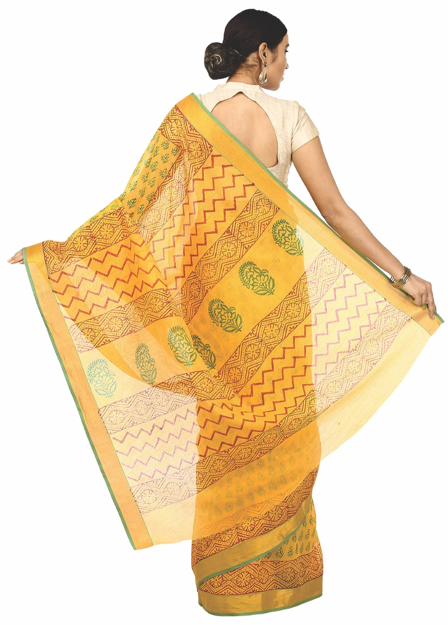 Yellow Sanganeri Hand Block Print Cotton Kota Doria Supernet Handcrafted Saree-Saree-Kalakari India-RDSNSA0014-Geographical Indication, Hand Blocks, Hand Crafted, Heritage Prints, Kota Doria, Sanganeri, Sarees, Sustainable Fabrics-[Linen,Ethnic,wear,Fashionista,Handloom,Handicraft,Indigo,blockprint,block,print,Cotton,Chanderi,Blue, latest,classy,party,bollywood,trendy,summer,style,traditional,formal,elegant,unique,style,hand,block,print, dabu,booti,gift,present,glamorous,affordable,collectible,S