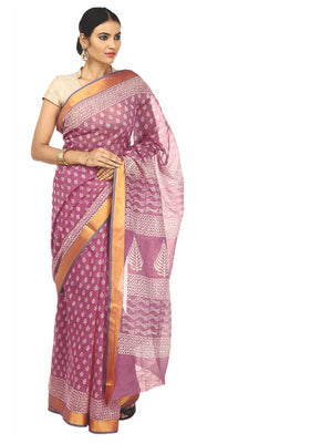 Magenta Sanganeri Block Print Cotton & Supernet Ttraditional Handcrafted Saree-Saree-Kalakari India-RDSNSA0016-Geographical Indication, Hand Blocks, Hand Crafted, Heritage Prints, Kota Doria, Sanganeri, Sarees, Sustainable Fabrics-[Linen,Ethnic,wear,Fashionista,Handloom,Handicraft,Indigo,blockprint,block,print,Cotton,Chanderi,Blue, latest,classy,party,bollywood,trendy,summer,style,traditional,formal,elegant,unique,style,hand,block,print, dabu,booti,gift,present,glamorous,affordable,collectible,S