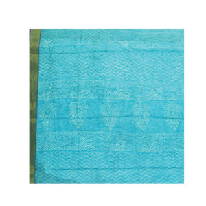 Blue Sanganeri Hand Block Print CottonKota Doria Supernet Handcrafted Saree-Saree-Kalakari India-RDSNSA0019-Geographical Indication, Hand Blocks, Hand Crafted, Heritage Prints, Kota Doria, Sanganeri, Sarees, Sustainable Fabrics-[Linen,Ethnic,wear,Fashionista,Handloom,Handicraft,Indigo,blockprint,block,print,Cotton,Chanderi,Blue, latest,classy,party,bollywood,trendy,summer,style,traditional,formal,elegant,unique,style,hand,block,print, dabu,booti,gift,present,glamorous,affordable,collectible,Sari