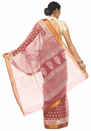 Rust Red Sanganeri Block Print Cotton & Supernet Ttraditional Handcrafted Saree-Saree-Kalakari India-RDSNSA0020-Geographical Indication, Hand Blocks, Hand Crafted, Heritage Prints, Kota Doria, Sanganeri, Sarees, Sustainable Fabrics-[Linen,Ethnic,wear,Fashionista,Handloom,Handicraft,Indigo,blockprint,block,print,Cotton,Chanderi,Blue, latest,classy,party,bollywood,trendy,summer,style,traditional,formal,elegant,unique,style,hand,block,print, dabu,booti,gift,present,glamorous,affordable,collectible,