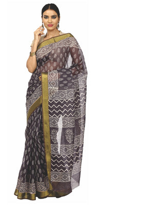 Black Sanganeri Block Print Cotton & Supernet Ttraditional Handcrafted Saree-Saree-Kalakari India-RDSNSA0022-Geographical Indication, Hand Blocks, Hand Crafted, Heritage Prints, Kota Doria, Sanganeri, Sarees, Sustainable Fabrics-[Linen,Ethnic,wear,Fashionista,Handloom,Handicraft,Indigo,blockprint,block,print,Cotton,Chanderi,Blue, latest,classy,party,bollywood,trendy,summer,style,traditional,formal,elegant,unique,style,hand,block,print, dabu,booti,gift,present,glamorous,affordable,collectible,Sar