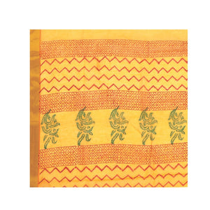 Yellow Sanganeri Hand Block Print Cotton Kota Doria Supernet Handcrafted Saree-Saree-Kalakari India-RDSNSA0024-Geographical Indication, Hand Blocks, Hand Crafted, Heritage Prints, Kota Doria, Sanganeri, Sarees, Sustainable Fabrics-[Linen,Ethnic,wear,Fashionista,Handloom,Handicraft,Indigo,blockprint,block,print,Cotton,Chanderi,Blue, latest,classy,party,bollywood,trendy,summer,style,traditional,formal,elegant,unique,style,hand,block,print, dabu,booti,gift,present,glamorous,affordable,collectible,S