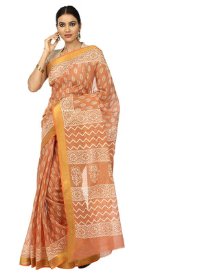 Orange Sanganeri Block Print Cotton & Supernet Ttraditional Handcrafted Saree-Saree-Kalakari India-RDSNSA0025-Geographical Indication, Hand Blocks, Hand Crafted, Heritage Prints, Kota Doria, Sanganeri, Sarees, Sustainable Fabrics-[Linen,Ethnic,wear,Fashionista,Handloom,Handicraft,Indigo,blockprint,block,print,Cotton,Chanderi,Blue, latest,classy,party,bollywood,trendy,summer,style,traditional,formal,elegant,unique,style,hand,block,print, dabu,booti,gift,present,glamorous,affordable,collectible,Sa