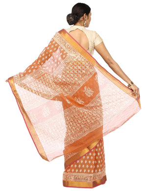 Orange Sanganeri Hand Block Print Cotton Kota Doria Supernet Handcrafted Saree-Saree-Kalakari India-RDSNSA0026-Geographical Indication, Hand Blocks, Hand Crafted, Heritage Prints, Kota Doria, Sanganeri, Sarees, Sustainable Fabrics-[Linen,Ethnic,wear,Fashionista,Handloom,Handicraft,Indigo,blockprint,block,print,Cotton,Chanderi,Blue, latest,classy,party,bollywood,trendy,summer,style,traditional,formal,elegant,unique,style,hand,block,print, dabu,booti,gift,present,glamorous,affordable,collectible,S