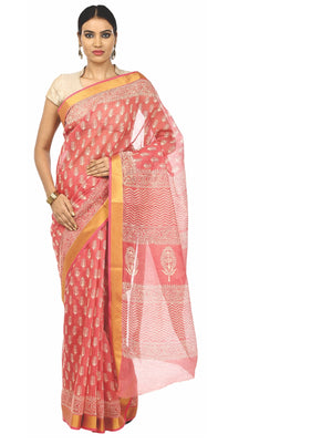 Pink Sanganeri Block Print Cotton & Supernet Ttraditional Handcrafted Saree-Saree-Kalakari India-RDSNSA0027-Geographical Indication, Hand Blocks, Hand Crafted, Heritage Prints, Kota Doria, Sanganeri, Sarees, Sustainable Fabrics-[Linen,Ethnic,wear,Fashionista,Handloom,Handicraft,Indigo,blockprint,block,print,Cotton,Chanderi,Blue, latest,classy,party,bollywood,trendy,summer,style,traditional,formal,elegant,unique,style,hand,block,print, dabu,booti,gift,present,glamorous,affordable,collectible,Sari