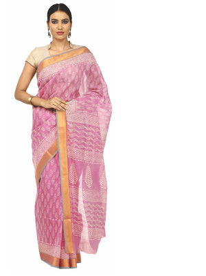 Pink Sanganeri Block Print Cotton & Supernet Ttraditional Handcrafted Saree-Saree-Kalakari India-RDSNSA0029-Geographical Indication, Hand Blocks, Hand Crafted, Heritage Prints, Kota Doria, Sanganeri, Sarees, Sustainable Fabrics-[Linen,Ethnic,wear,Fashionista,Handloom,Handicraft,Indigo,blockprint,block,print,Cotton,Chanderi,Blue, latest,classy,party,bollywood,trendy,summer,style,traditional,formal,elegant,unique,style,hand,block,print, dabu,booti,gift,present,glamorous,affordable,collectible,Sari