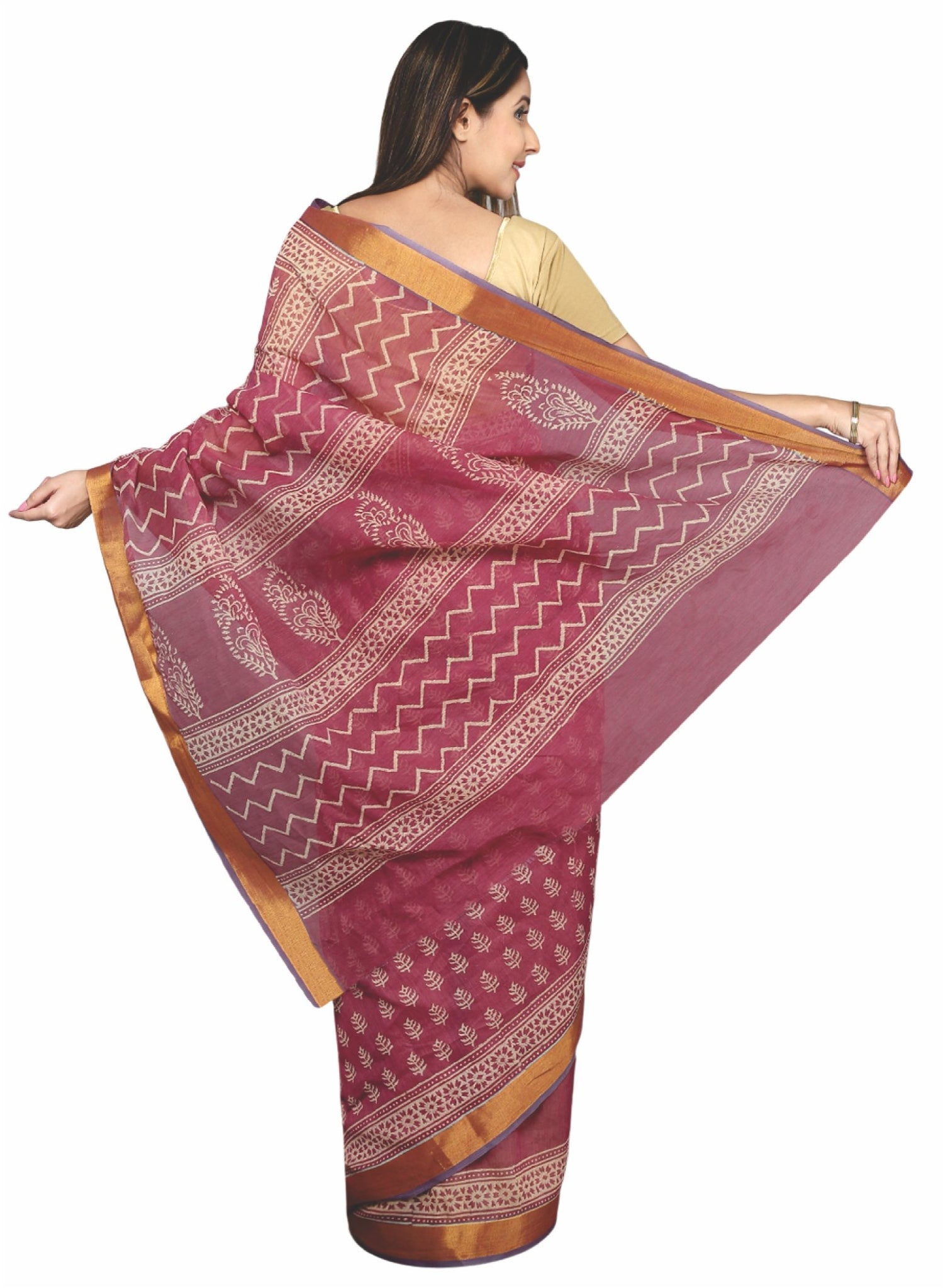 Pink & Off-White Hand Block Print Cotton Kota Doria Supernet Handcrafted Saree-Saree-Kalakari India-RDSNSA0031-Geographical Indication, Hand Blocks, Hand Crafted, Heritage Prints, Kota Doria, Sanganeri, Sarees, Sustainable Fabrics-[Linen,Ethnic,wear,Fashionista,Handloom,Handicraft,Indigo,blockprint,block,print,Cotton,Chanderi,Blue, latest,classy,party,bollywood,trendy,summer,style,traditional,formal,elegant,unique,style,hand,block,print, dabu,booti,gift,present,glamorous,affordable,collectible,S