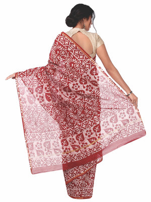 Red & White Chanderi Silk Batik Hand Block Print Handcrafted Saree-Saree-Kalakari India-RDSNSA0035-Batik, Chanderi, Geographical Indication, Hand Blocks, Hand Crafted, Heritage Prints, Sarees, Silk, Sustainable Fabrics-[Linen,Ethnic,wear,Fashionista,Handloom,Handicraft,Indigo,blockprint,block,print,Cotton,Chanderi,Blue, latest,classy,party,bollywood,trendy,summer,style,traditional,formal,elegant,unique,style,hand,block,print, dabu,booti,gift,present,glamorous,affordable,collectible,Sari,Saree,pr